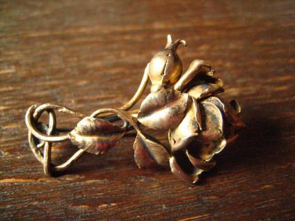 aufwändige antike Rosen Brosche Rose vollplastisch 800er Silber vergoldet gold - Vorschau 1