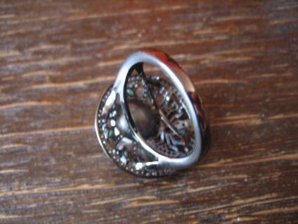 origineller Glitzer Ring mit Spinne und Perle 925er Silber grüne Farbsteine - Vorschau 4