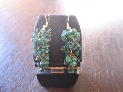 reizvolle Ohrringe Hänger Ohrhänger Malachit gold grün bewegliche Trauben NEU