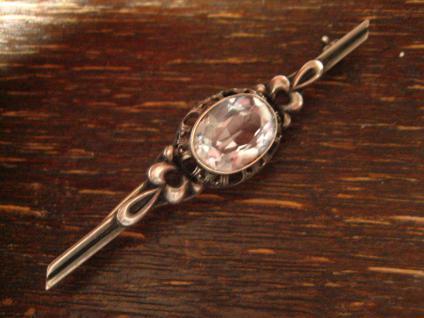 edle Art Deco Krawattennadel Brosche Stabnadel 835er Silber Stein aquamarin blau - Vorschau 3