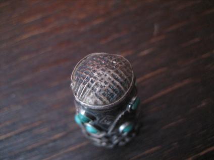 super schöner Fingerhut 925er Silber Türkis Besatz aufwändige Handarbeit Mexiko - Vorschau 4