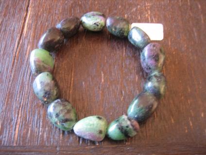 super shönes Zoisit Rubin-Zoisit Rubinzoisit 1, 5 cm Oliven Armband 19, 5 cm