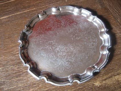 edles Silbertablett Sherry Tablett rund reich graviert silber pl 31, 5 cm England