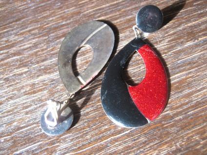 feurige riesige vintage Designer Ohrringe Clips Ohrclips Emaille schwarz rot - Vorschau 4