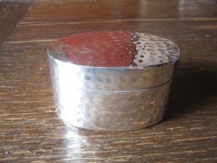 sehr elegante große Dose Schatulle Döschen Tabatiere Silberdose oval silber pl B