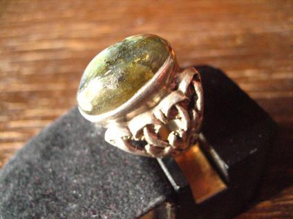 origineller vintage Designer Ring prächtiger Labradorit 925er Silber Pilze Pilz