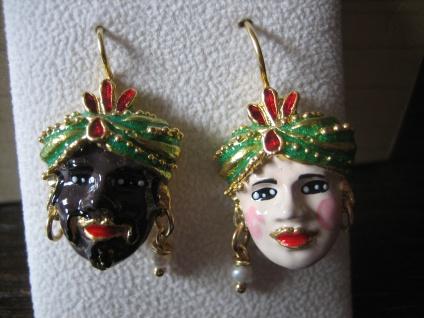 AMori Veneziani - einmalig schöne Designer Ohrringe Hänger 925er Silber Emaille