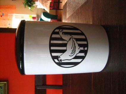 große vintage Dose Vorratsdose Vorratsbehälter Keramik schwarz weiß Hühner Dekor