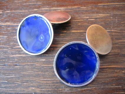 avantgardistische Art Deco Manschettenknöpfe Emaille blau mailliert Silber