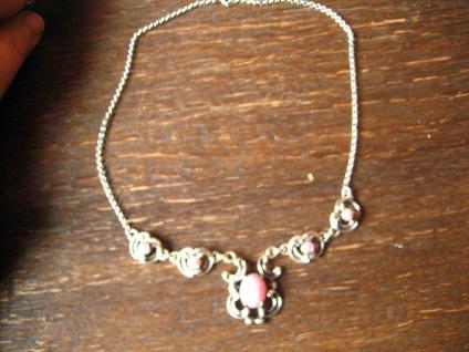 wunderschönes florales Trachten Dirndl Collier 835er Silber rosa Rhodochrosit - Vorschau 3