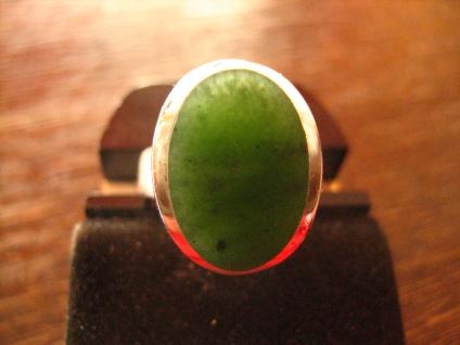 ausgefallener vintage Designer Ring 835er Silber grüne Jade grün RG verstellbar