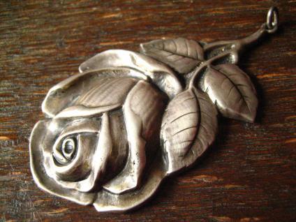 traumhaft schöner großer Jugendstil Anhänger Rosen 800er Silber Rose getrieben - Vorschau 2