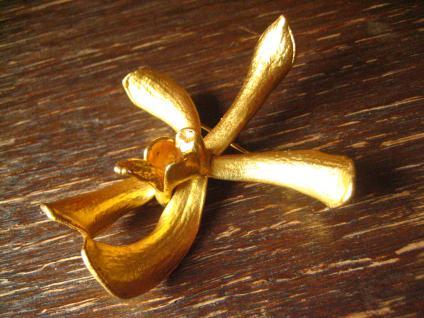 traumhafte Vintage Brosche echte Orchidee 24 ct hartvergoldet gold Risis um 1977 - Vorschau 2