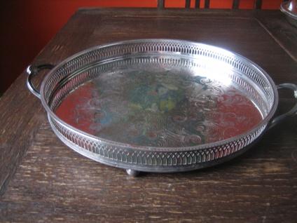 atemberaubendes Silbertablett Galerietablett Tablett silber pl England 35 cm - Vorschau 2