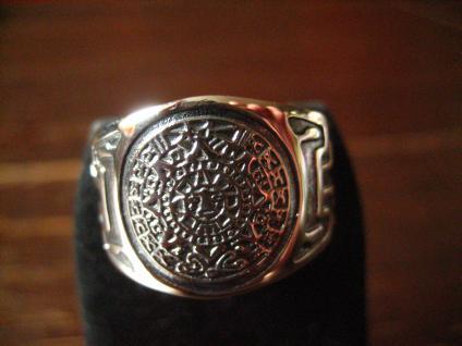 prächtiger großer Ring Mayakalender Maya Azteken Kalender 925er Silber RG 63 20 mm