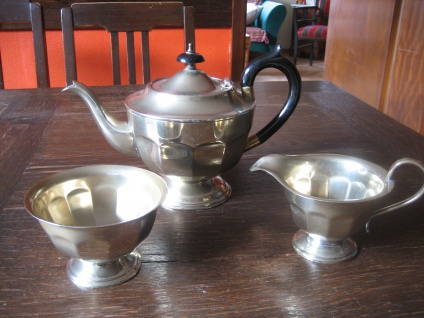 edles antikes Teeservice Teekanne Milch & Zucker Set silber pl Sheffield Teekern