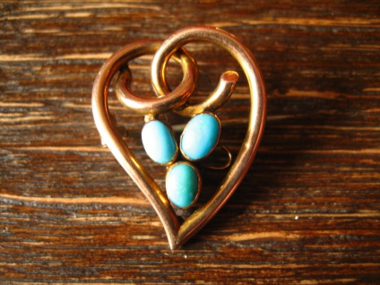 romantische Jugendstil Brosche 375er Rosegold 9 Karat Gold Herz Türkis England