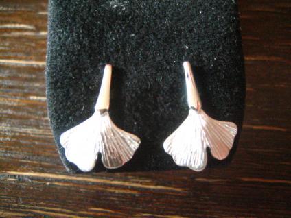 sehr feine Gingko Ginkgo Blatt Ohrringe Stecker 925er Silber toll ausgearbeitet