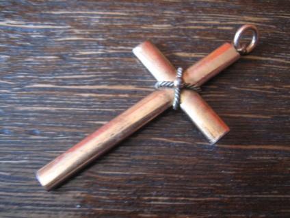 zeitloser schlichter Biedermeier Kreuz Anhänger rotgold Doublé Cross Pendant