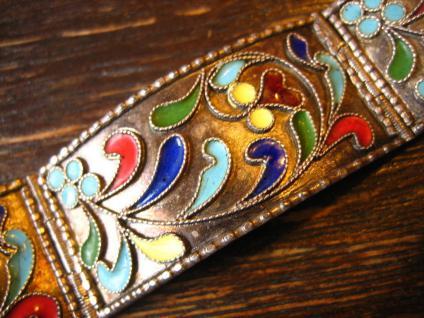 reizvolles vintage Armband 925er Sterling Silber farbenfroh emailliert Emaille