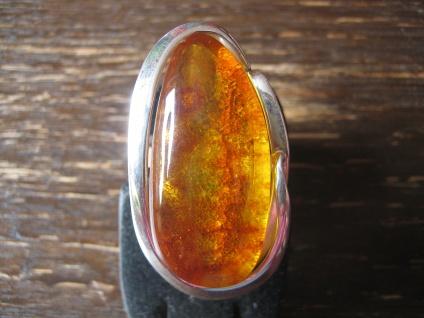 atemberaubender Statement Designer Ring 925er Silber Natur Bernstein Unikat NEU