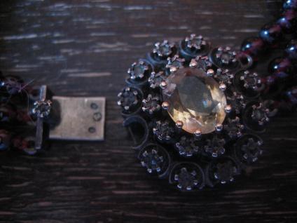 prunkvolles Biedermeier Granat Collier Silber Schmuckschließe Diamantrosen 3reihig - Vorschau 4