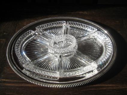 prächtiges Silbertablett Silberschale Servierschale mit Kristall Cabaret 8teilig