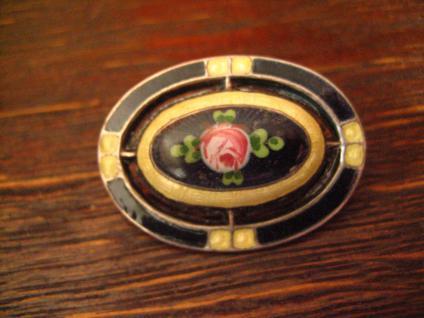 reizende Jugendstil Brosche Emaille Rosen Rose Emailmalerei 800er Silber