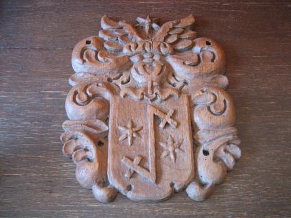 Rarität ! aufwändiges Wappen Adelswappen Vollwappen geschnitzt Holz 27 x 21 cm