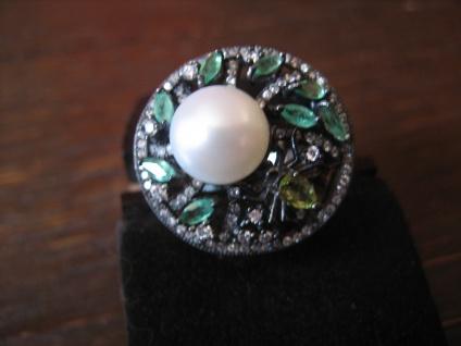 origineller Glitzer Ring mit Spinne und Perle 925er Silber grüne Farbsteine - Vorschau 3