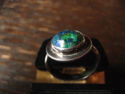zeitlos eleganter Vintage Designer Ring Azurit Malachit 925er Silber 17, 5 m G 55 - Vorschau 2