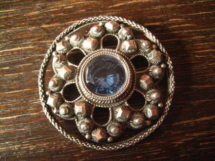 antike Solje Hochzeitsbrosche Brosche B. Hertz Kopenhagen Blautopas 830er Silber