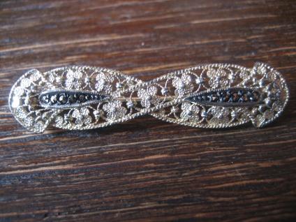 elegante Jugendstil Markasit Brosche Krawattennadel 835er Silber Filigranarbeit - Vorschau 1