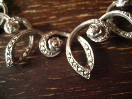 reich verschnörkeltes Art Deco Collier Markasit 835er Silber florale Konzeption - Vorschau 3