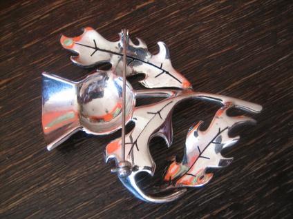 riesige Art Deco Markasit Brosche Distel Silberdistel 925er Silber TOP Zustand - Vorschau 4