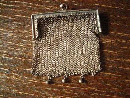 reizende Jugendstil Geldbörse Geldbeutel Börse Kettentasche mit Öse 800er Silber - Vorschau 2