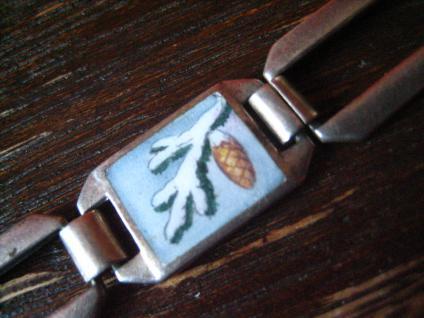bezauberndes Jugendstil Armband emaillier Vier Jahreszeiten 835er Silber 18 cm - Vorschau 5