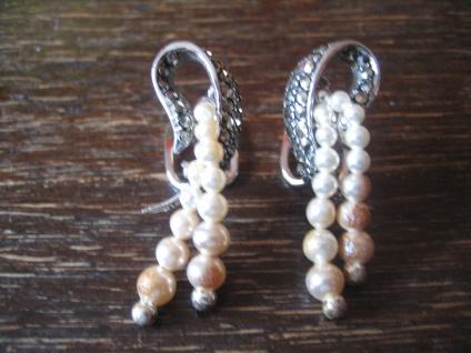 edle Art Deco Markasit Ohrringe Clips Perlen Markasiten 925er Silber ausgefallen