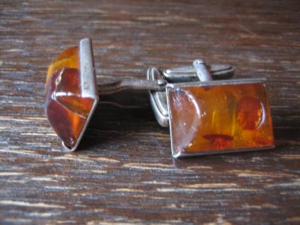 klassische Art Deco Bernstein Amber Manschettenknöpfe Cufflinks 835er Silber - Vorschau 2