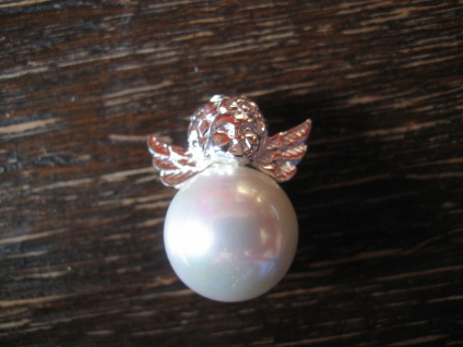 zuckersüßer Anhänger Charm Engel Putto auf Perle 925er Silber NEU große Perle