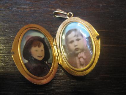 klassischer nostalgischer Jugendstil Medallion Anhänger gold Doublé für 2 Fotos - Vorschau 3