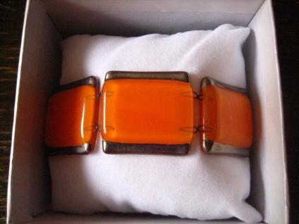 elegantes Armband orange silber 2, 7 cm NEU Kunsthandwerk Arts & Crafts Unikat - Vorschau 2