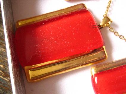 sehr edles Schmuckset Anhänger Ohrringe rot gold NEU Kunsthandwerk Arts & Crafts - Vorschau 2