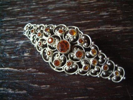 reich verschnörkelte Kristall Brosche im Barock Stil gold antiker Modeschmuck - Vorschau 2