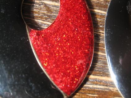 feurige riesige vintage Designer Ohrringe Clips Ohrclips Emaille schwarz rot - Vorschau 3