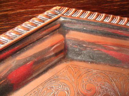 reich verziertes großes Silbertablett Tablett silber pl England 8eckig 33 cm - Vorschau 3