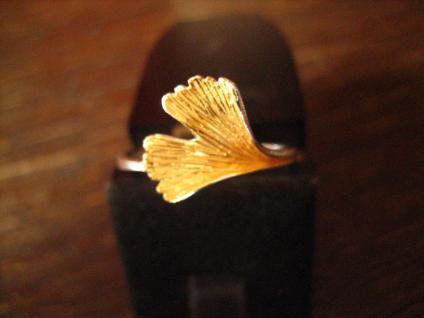 wunderbarer sehr edler Gingko Blatt Ring 925er Silber teilweise vergoldet neu