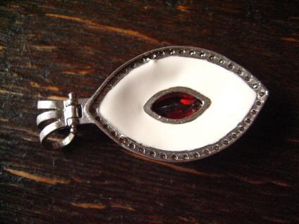 Üppiger 925er Sterling Silber Anhänger Emaille Zirkonia Granat Stein Barock Stil - Vorschau 4