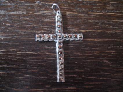 edler schlichter Art Deco Kreuz Anhänger 835er Silber Markasit zeitlos elegant