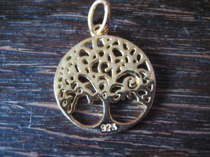 zierlicher edler Anhäger Lebensbaum Baum des Lebens 925er Silber vergoldet 2 cm - Vorschau 2